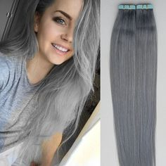 7A European Remy Tape-in Hair Extension Seamless Weft Pure Grey Straight 40Pcs #HotQueen #HairExtension