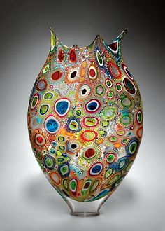 Art Glass Vessel by David Patchen.  Since Patchen is always creating different murrini patterns, each vessel is completely unique; colors, patterns, and size may vary.