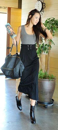 high waist long black skirt <3