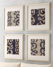 Choose a print and frame it to make an inexpensive, yet artful grouping. Can use wallpaper, etc.