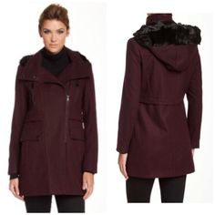 "Andrew Marc Burgundy Wool Coat Stand up collar• Detachable hood with faux fur trim• Long sleeves• Asymmetrical front zip closure• 4 front pockets• Front vent derail• Faux leather trim• Fully lined.(31"" length) Andrew Marc Jackets & Coats"