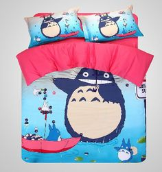 Cute Totoro Bed Sets Comforter Sets Duvet Covers Quilted Bedspreads Cotton Blue Red Queen/Full/Twin US