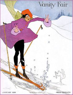 Bunny Crosses Flapper Skier--Vintage Vanity Fairy Magazine Cover