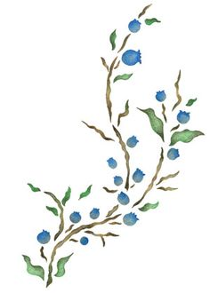 Quickly and easily create a country ambience in your home with our Blueberry Spray Painting Stencil!
