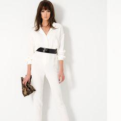 TAMARA MELLON... LA MODE RACÉE - # 6 – Combinaison-pantalon en soie blanche – Ceinture en cuir noir