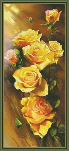 Cross stitch kit Yellow roses DIY Counted Cross stitch