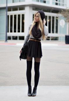 Love the pantyhose with thigh highs look.