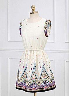 Exotic Pattern Print Sleeveless A Line Dress for Women$32.62
