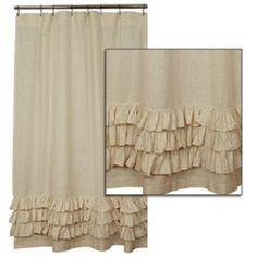 flax ruffled shower curtain