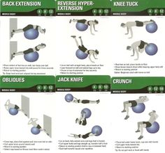 Stability Ball Core Exercises Chart | Middle body (core) stability ball exercises | exercise