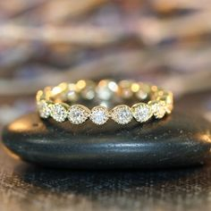 Vintage Style Eternity Diamond Band in 14k Yellow Gold Bezel Set Diamond Wedding Ring Stack Ring Anniversary Ring Dainty Diamond Band
