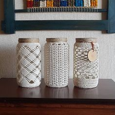 Macrame Art, Macrame Design, Macrame Projects, Crochet Projects, Crochet Decoration, Crochet Home Decor, Crochet Crafts, Mason Jar Crafts, Bottle Crafts