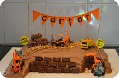 Diggers construction cake