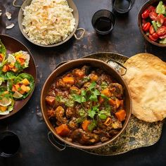 A Curry Table with all the Trimmings Curry, Salad Dressings, Chana Masala, Cooking Recipes, Menu, Baking, Ethnic Recipes, Table, Food