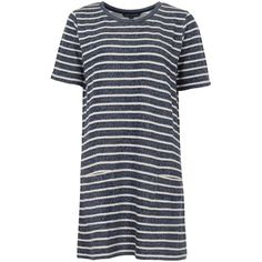 French Connection Normandy Stripe T-Shirt Dress, Brule/Indigo ($36) ❤ liked on Polyvore featuring dresses, dress short, dresses/rompers, maxi dresses, tshirt dress, short dresses, striped t shirt dress and long-sleeve mini dress