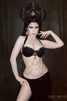 Model: Threnody In VelvetPicture by Iberian Black ArtsWearing a Elegant Curiositiesheadchain, haircrown, earrings and bra welcome to Gothic and Amazing