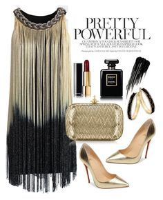 """Black and gold"" by gold-candle23 ❤ liked on Polyvore featuring Chicwish, Christian Louboutin, Vivienne Westwood, Thalia Sodi, Chanel and Urban Decay"