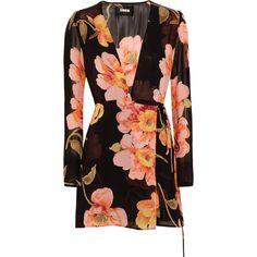 Reformation Floral-print georgette wrap mini dress (€240) ❤ liked on Polyvore featuring dresses, short dresses, short wrap dress, wrap tie dress, floral dresses and reformation dresses