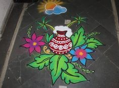 Discover some of the most pretty Pongal kolam designs and Sankranti rangoli patterns in here. Make these kolam designs and decorate your home for Pongal. Rangoli Designs Latest, Simple Rangoli Designs Images, Rangoli Designs Flower, Rangoli Patterns, Rangoli Ideas, Rangoli Designs Diwali, Rangoli Designs With Dots, Kolam Rangoli, Flower Rangoli