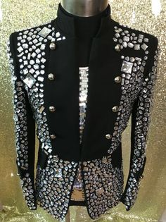 Plus Size Costomized Men's Black Crystal Jacket Ds Dj Male Singer Dancer Performance Outerwear Costume Rhinestone Jacket Outfit Dance Outfits, Dance Dresses, Fall Outfits, Fashion Outfits, Dancing Outfit, Male Prom Outfits, Mens Kurta Designs, Designer Suits For Men, Figure Skating Dresses