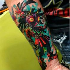 "The Skull Kid on a watercolor background: | 22 ""Legend Of Zelda"" Tattoos That Will Blow You Away"
