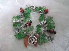 Autumn Harvest Pentacle Bracelet wiccan jewelry by Sheekydoodle, $19.99