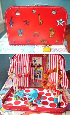 When I was growing up our neighbors had an amazing collection of antique toys. The father was actually collecting toys he had owned or h. Diy For Kids, Crafts For Kids, Old Suitcases, Diy Doll, Antique Toys, Kids Gifts, Kids Playing, Kids Toys, Miniatures