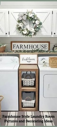 Farmhouse Style Laundry Room Pictures and Decorating Ideas Small Laundry Closet, Small Laundry Space, Tiny Laundry Rooms, Farmhouse Laundry Room, Country Farmhouse Decor, Farmhouse Style Decorating, Laundry Room Rugs, Laundry Room Shelves, Laundry Room Remodel