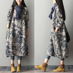 Blue White Print Porcelain Floral Cotton Linen Dress Robe Fashion Women Clothes Clothes will not shrink,loose Cotton fabric, soft to the touch. *Care: hand wash or machine wash gentle, best to Look Fashion, Hijab Fashion, Womens Fashion, Ladies Fashion, Fashion Outfits, Fashion Styles, Dress Fashion, Fashion Ideas, Feminine Fashion