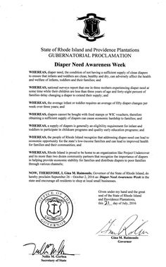 RHODE ISLAND - Governor Gina M. Raimondo's proclamation recognizing Diaper Need Awareness Week (Sep 26th - Oct 2nd 2016)  #DiaperNeed www.diaperneed.org