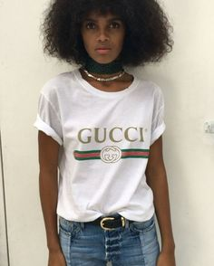 Down to a tee. The #logo t-shirt is back we love this original '80's print #Gucci t-shirt on @marling31 worn with distressed denim. Search 803187 to shop @Gucci at #NETAPORTER #SeeItBuyItLoveIt #regram @hannahc0le #fashionmemo  via PORTER MAGAZINE OFFICIAL INSTAGRAM - Celebrity  Fashion  Haute Couture  Advertising  Culture  Beauty  Editorial Photography  Magazine Covers  Supermodels  Runway Models