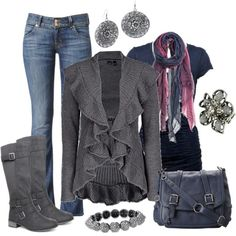 gray fall winter outfit with boots & sweater