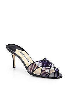 Manolo Blahnik Torugale Printed Translucent Sandals (=)