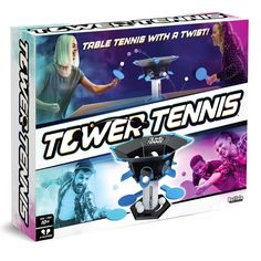 Tower Tennis- it's table tennis with a twist! Hit the ball into the tower and it will spit out one of the holes randomly. If it comes out on your side, you have to hit it back in or the other placer scores a point. It's head-to-head fast-paced action where you keep the ball alive to score. The tower is portable to you can play it anywhere. Dominate your friends or team up in this skill and action game. Gender: unisex. Age Group: adult. V Games, Math Games, Board Games, Rush Hour Game, Rockets Game, Pong Game, State Game, Buffalo Games, Giant Games