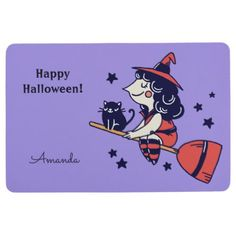 Cute Witch Halloween custom name floor mat - home gifts ideas decor special unique custom individual customized individualized