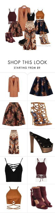 """""""Striped jacket"""" by nuktanukta ❤ liked on Polyvore featuring Stella Jean, Maje, Dsquared2, Valentino, Giuseppe Zanotti, Boohoo and Laurence Dacade"""