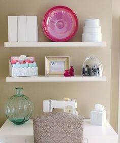 for sewing nook...floating shelves for storage and pictures