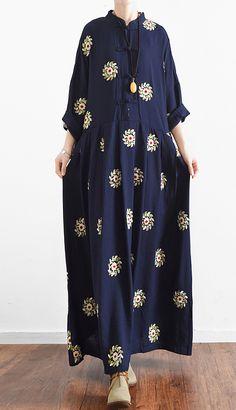 navy summer linen maxi dress vintage oversize baggy dresses print casual caftans