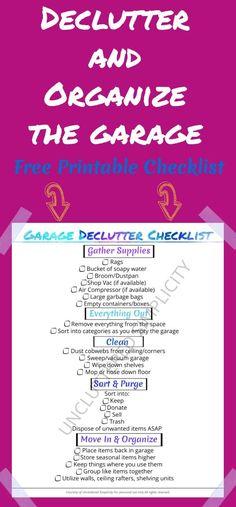 declutter garage   organize garage   garage organization printable checklist   free printable  