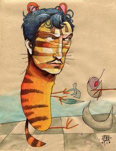EASY, TIGER Framed Art Print by Busymockingbird   Society6