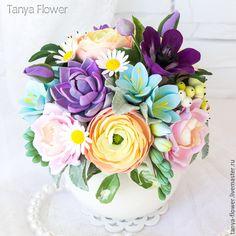 Купить Букет цветов в вазе. - tanya flower, букеты из глины, цветы из полимерной глины