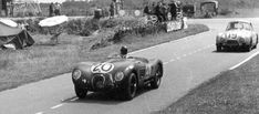1951. The winning Jaguar #20 leads the 6th place finisher #19 Nash-Healey.