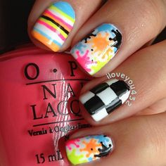 colorful splatter paint, stripes, and black and white checker board nails Neon Nails, Love Nails, How To Do Nails, My Nails, Gorgeous Nails, Pretty Nails, Beautiful Nail Designs, Creative Nails, Nails Inspiration