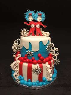 Thing 1 Thing 2 twin baby shower cake  Seuss stencil