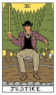 Twin Peaks tarot Card Deck. Sheriff Harry S.Truman como LA JUSTICIA