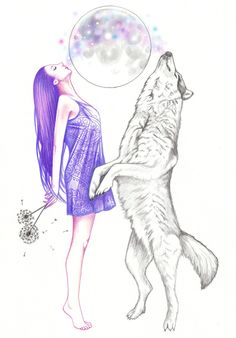 "andreahrnjak: ""Moon Dance "" The Effective Pictures We Offer You About Dancing Drawings aesthetic A q Dancing Drawings, Art Drawings Sketches, Animal Drawings, Cool Drawings, Wolf Spirit, Spirit Animal, Dibujos Zentangle Art, Wolf Totem, Geometric Wolf"