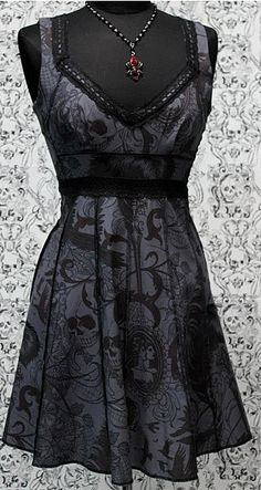 Gothic Vintage Black Dress--Short