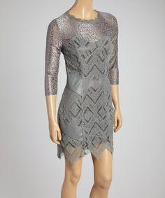 Look at this #zulilyfind! Gray Lace Three-Quarter Sleeve Dress - Women #zulilyfinds
