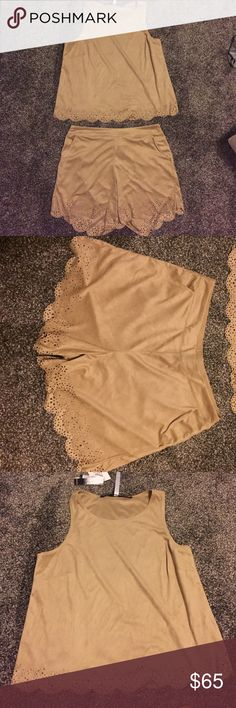 Suede two piece Kensie outfit Kensie two piece tan outfit, tank top (kind of short but not a crop top) with detailed design at the bottom (M), shorts have pockets on the front with the same detailing on the bottom as the tank top, elastic around the band run a tad big (S), never worn NWT!   No trades Reasonable offers accepted✨ Kensie Shorts