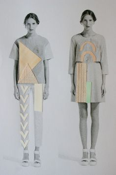 Cut shapes of the buildings/lines use as stencil in front of colour scheme A Level Textiles, Motifs Textiles, Fashion Models, Moda Fashion, Fashion Collage, Fashion Art, Fashion Design, Fashion Sketchbook, Fashion Sketches